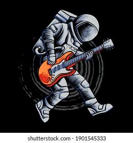 Astronaut Guitar Show Vector Illustration