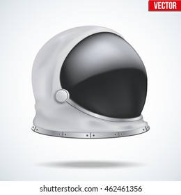 Astronaut helmet with big glass and reflection. Side view. Vector Illustration isolated on white background.