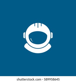 Astronaut Helmet Flat Icon On Blue Background