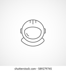 Astronaut Helmet Line Icon On White Background