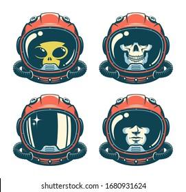 Astronaut helmet with skull - retro style. Spaceman face in space suit - vintage design. Alien cosmonaut. Vector illustration.