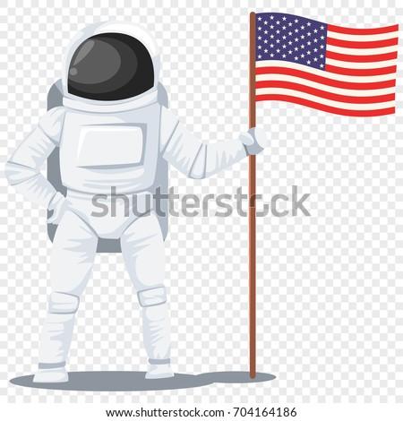 astronaut helmet spacesuit american flag his stock vector royalty