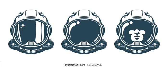 Astronaut helmet - vintage set. Spaceman face in space suit - retro design. Vector illustration.