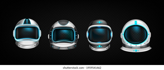 Astronaut helmets, cosmonaut space suit front view isolated mockup on black background. Pilot costume headwear with neon glow elements and dark glass with light reflection, Realistic 3d vector set