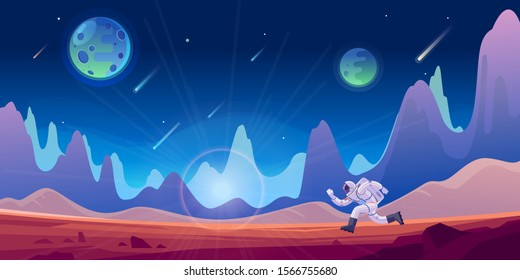 Astronaut and his mission. Space sky  and planet background. Planets surface with craters, stars and comets in dark space. Vector illustration.