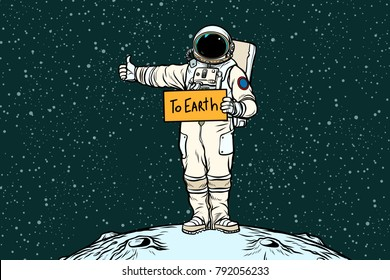 Astronaut hitch rides on Earth. Pop art retro vector illustration