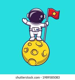 Astronaut Holding Flag On Moon Cartoon Vector Icon Illustration. Space Science Icon Concept Isolated Premium Vector. Flat Cartoon Style