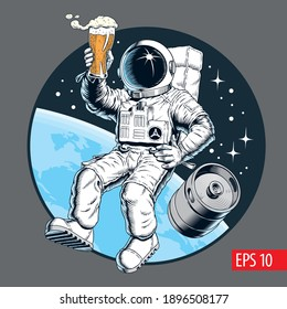 Astronaut holds a beer pint and beer keg in outer space. Vector illustration.