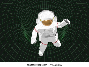 Astronaut into a black hole. Wireframe futuristic illustration