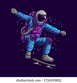 astronaut jump on space with skateboard vector illustration design