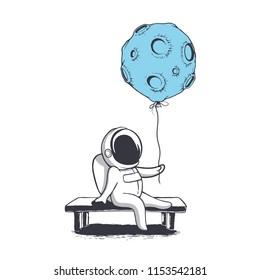 Astronaut keeps moon who like a balloon.Cosmonaut sits on bench.Vector illustration