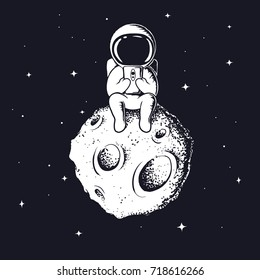 astronaut keeps smartphone.Spaceman sits on Moon and see to mobile phone.Prints vector design.
