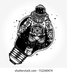 Astronaut in a light bulb tattoo art. Surreal graphics t-shirt design. Symbol of creative thinking, new ideas