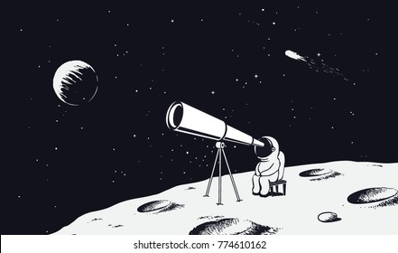 astronaut looks through the telescope to universe on Moon.Drawing style.Space vector illustration