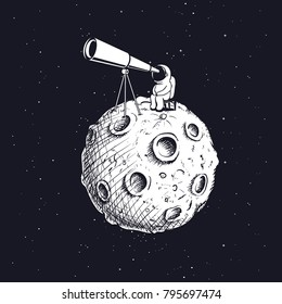 astronaut looks through the telescope to universe on abstract Moon.Hand drawn style.Space vector illustration