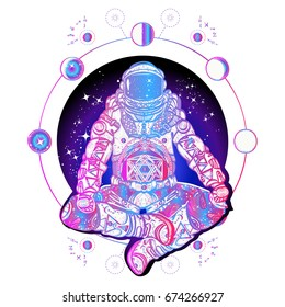 Astronaut in the lotus position color tattoo art. Symbol of meditation, harmony, yoga. Astronaut and Universe t-shirt design