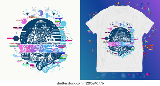 Astronaut in the lotus position glitch. Print for t-shirts and another, trendy apparel design. Symbol of meditation, harmony, yoga. Spaceman and Universe