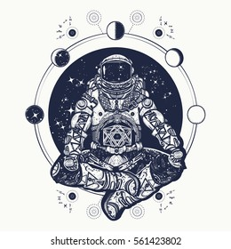 Astronaut in the lotus position tattoo art and t-shirt design. Symbol of meditation, harmony, yoga. Spaceman yoga