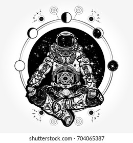 Astronaut in the lotus position tattoo and t-shirt design. Spaceman silhouette. Symbol of meditation, harmony, yoga