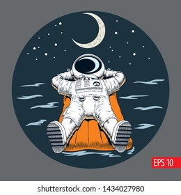 Astronaut lying on the inflatable mattress. Stars and moon. Comic style vector illustration.