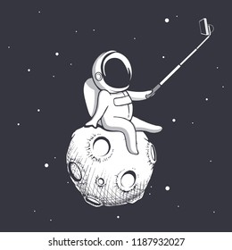 astronaut make selfie on Moon.Spaceman photographs himself.Vector illustration.Prints design