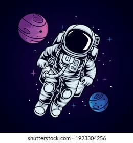 Astronaut man floating vector illustration