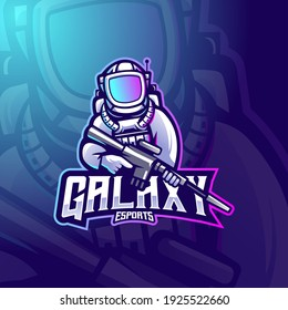 Astronaut mascot logo design vector with modern illustration concept style for badge, emblem and t-shirt printing