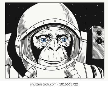 Astronaut monkey in space suit. Monkey in astronaut helmet