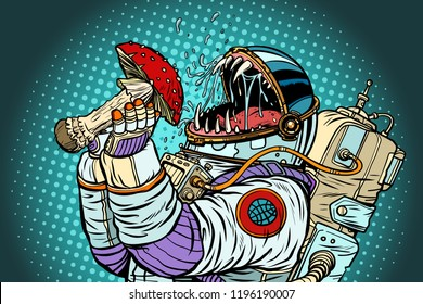 Astronaut monster eats Fly agaric. Greed and hunger of mankind concept. Pop art retro vector illustration vintage kitsch