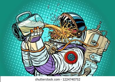 Astronaut mutant, thirst for beer. Pop art retro vector illustration vintage kitsch