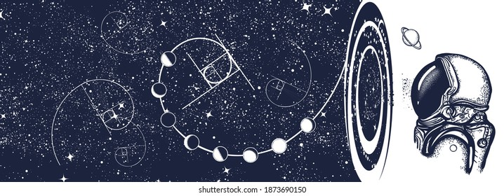Astronaut, night sky and universe. Black hole art. Symbol of knowledge, studying, science. Black and white surreal graphic