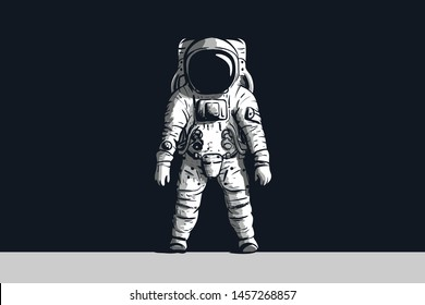 Astronaut on isolated black background in black and white. Vector image