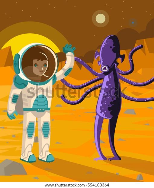 Astronaut On Mars Wavin Dark Strange Stock Vector (Royalty