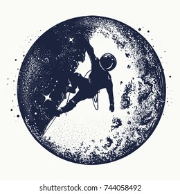 Astronaut on the moon tattoo and t-shirt. Spaceman new planets