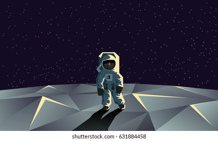 Astronaut on the polygonal moon surface. Flat geometric space illustration.