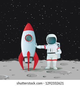 Astronaut on the surface of the moon standing near the rocketship and touching it with one hand and with other hand akimbo with dark sky and stars in the background. Vector space icon.