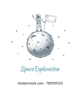 The Astronaut is on an unexplored Planet with the Flag of his country. Vector concept illustration, hand drawn sketch. Space Exploration