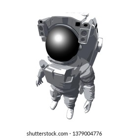 Astronaut on white top view. Vector illustration.