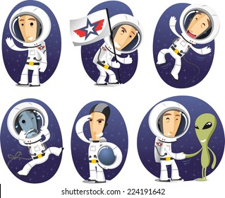 Astronaut in outer space exploration mission cartoon character action set