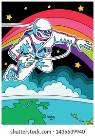 Astronaut in Outer Space, Psychedelic Color Art Poster. Spaceman, Globe, Rainbow