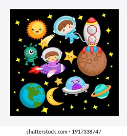 The Astronaut In Outer Space Stock Vector, suitable for children's books, fairy tales, cover and contents