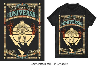 Astronaut in outer space. Universe slogan. Sci-fi art. Print for t-shirts and another, trendy apparel design