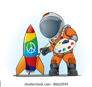 astronaut painting peace sign on the rocket