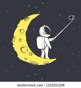 astronaut photographs himself on crescent moon.Vector illustration