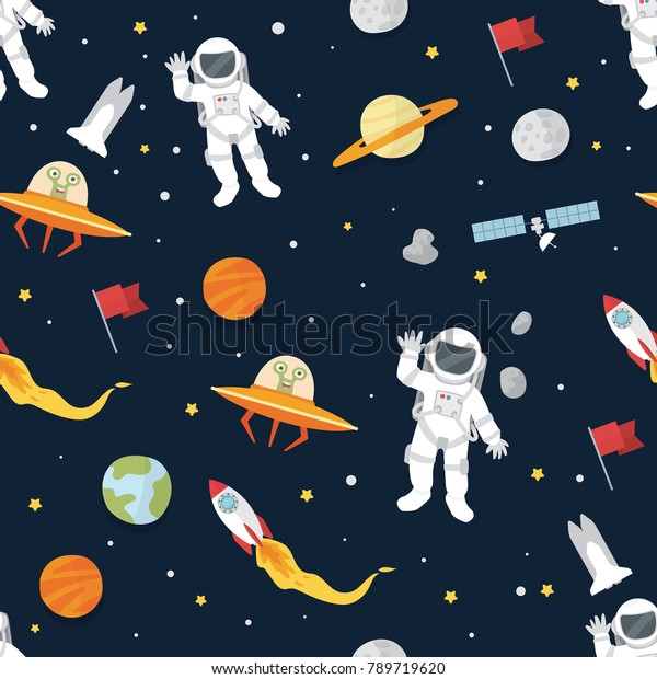 Astronaut Planets Space Wallpaper Stock Vector Royalty Free 789719620