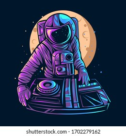 astronaut play dj vector illustration