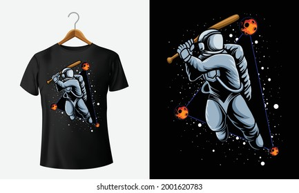 Astronaut playing baseball in space stylish t-shirt and apparel trendy design and typography lettering, print, vector, illustration design
