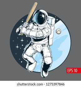 Astronaut playing baseball in space. Vector illustration.