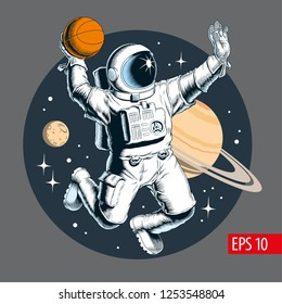 Astronaut playing basketball in space. Vector illustration.