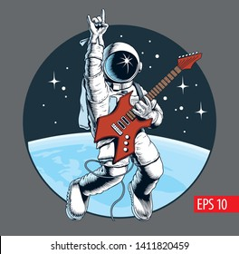 Astronaut playing electric guitar in space and gesturing devil horns sign. Space tourist. Vector illustration.